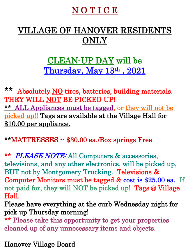 Clean Up Day Notice